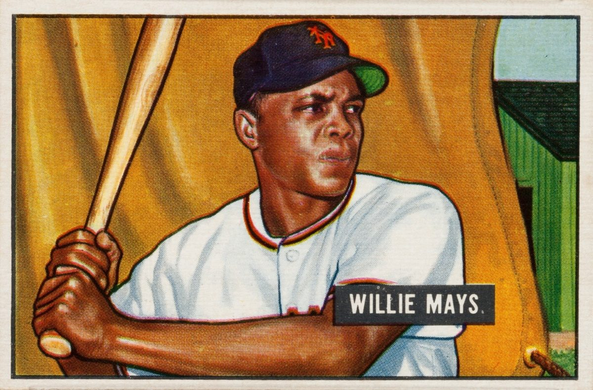 """Willie Mays Baseball Card is among the most valuable ever! Great tribute -""""Hank Aaron told me Willie was the best he'd ever played with."""" Willie Mays bowman baseball card."""
