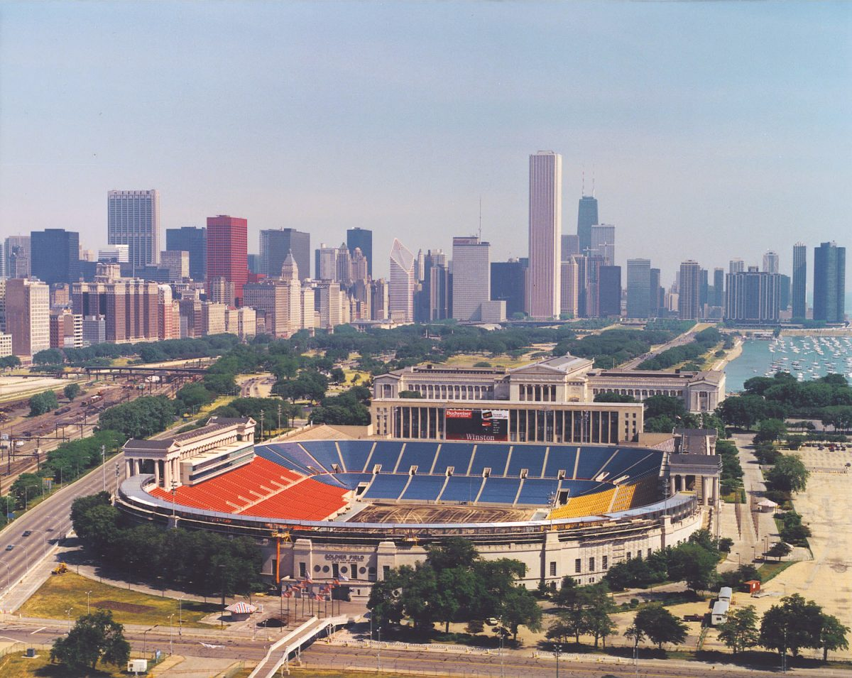 roster for 1985 chicago bears included Richard Dent, Shaun Gayle, William Perry, Jim McMahon, Walter Payton, Mike Singletary and Mike Ditka. Soldier Field from the sky.